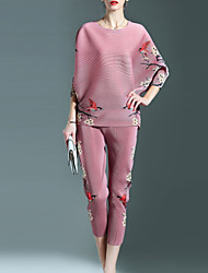 Women's Floral Blue / Pink / Gray Set,Round Neck ½ Length Sleeve