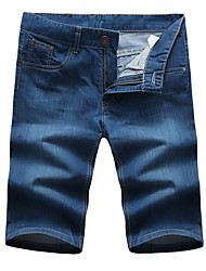 Men's Casual Slim Washed Jeans Shorts,Casual / Plus Sizes Solid Cotton / Polyester