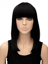 Popular Wigs Black Color Middle Length Top Quality Synthetic Wigs