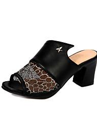 Women's Shoes Chunky Heel Peep Toe / Slingback Sandals Dress / Casual Black / Blue / White