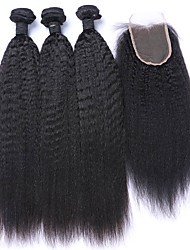 Trama do cabelo com Encerramento Cabelo Mongol Retas 6 meses 4 Peças tece cabelo