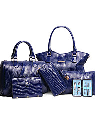Women PU Formal / Casual / Office & Career / Shopping Tote / Bag Sets White / Blue / Yellow / Red / Black