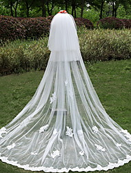 Wedding Veil Three-tier Cathedral Veils Lace Applique Edge Tulle Lace Ivory