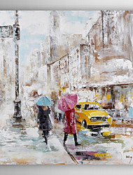 Hand Painted Oil Painting Landscape People Walking In The City street -Ⅰ with Stretched Frame 7 Wall Arts®