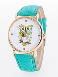 relógio ocasional coruja impressa senhoras discagem pulseira pu