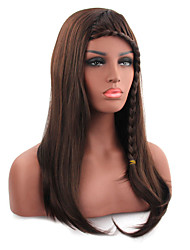 Fashionable Brown Color Long Length Straight Cosplay Synthetic Wigs