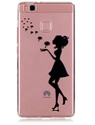 Pour Coque Huawei P9 P9 Lite Ultrafine Transparente Coque Coque Arrière Coque Femme Sexy Flexible PUT pour Huawei Huawei P9 Huawei P9 Lite