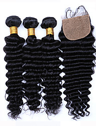 7A Grade Unpressed Brazilian Deep Wave With Closure Brazilian Curly Virgin Hair Bundles With Silk Base Closure