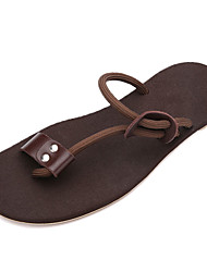 Men's Slippers & Flip-Flops Summer Comfort PU Casual Flat Heel Black Brown