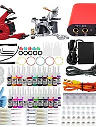Professional Complete 2 Gun Tattoo Machine Kit 40PCS Ink Power Supply Needle Grips Tips