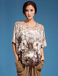 Damen Druck T-shirt - Baumwolle Kurzarm Rundhalsausschnitt