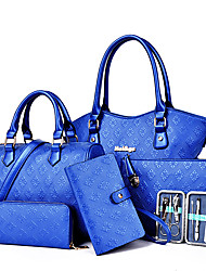 Damen Bag Sets PU Ganzjährig Reißverschluss Blau Gold Weiß Schwarz