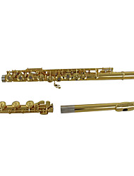 Quality 17 Open Hole Flute,C Gold Plated Flute,Carved Copper Material Flute,Professional Flute