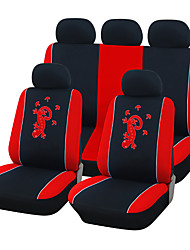 Universal Fit for Car, Truck, Suv, or Van Polyester Car Seat Cover Full Set Full Seat Cover Set (10 Pieces) Red