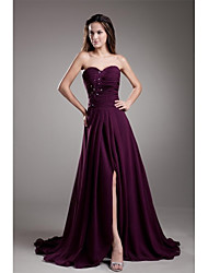 Formal Evening Dress A-line Sweetheart Court Train Chiffon with Appliques / Beading / Split Front / Pleats