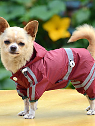 Dog Rain Coat Red / Yellow / Green Dog Clothes Summer / Spring/Fall Solid Waterproof