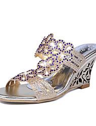 Women's Shoes Glitter Wedge Heel Peep Toe / Slippers Slippers Office & Career / Dress / Casual Purple