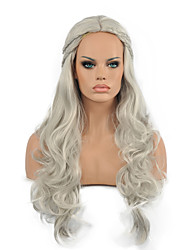 Natural Long Length Gary Color Popular Synthetic Wig For Woman