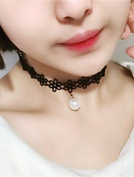 Black Lace Elastic Choker Necklace with Hanging Imitaiton Pearl