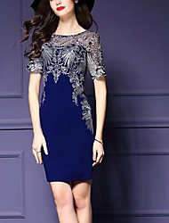 Women's Plus Size / Party/Cocktail Vintage Sheath Dress,Jacquard Round Neck Above Knee Short Sleeve Blue Polyester Summer