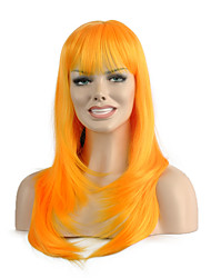 Natural Long Length Yellow Color Popular Straight Synthetic Wig For Woman