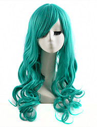capless longue vague couleur verte cosplay perruque synthétique
