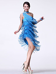 Dança Latina Vestidos Mulheres Actuação Algodão Cristal/Strass / Borla(s) 3 Peças Sem Mangas Alto Vestidos / Neckwear / Braceletes 95cm