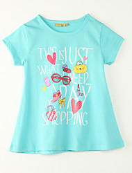 Girl's Going out Print Tee,Polyester Summer Blue