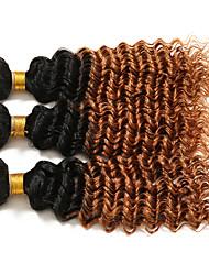 Омбре Бразильские волосы Кудрявый 6 месяца 3 предмета волосы ткет