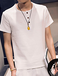 Summer 2016 Short-Sleeved Linen Shirt Men's Fashion Pure Color Flax Shirts Cool Refreshing Comfortable