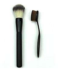 2 Foundation Brush Synthetic Hair Portable Professional Wood Face