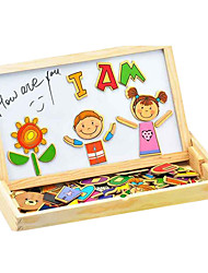 Wooden Children More Than Double Magnetic Puzzle Accessories, Makeup, Fauna and Flora Character Ccene Educational Toys