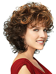 12 inch Women Short Wave Synthetic Hair Wig Ombre Brown with Free Hair Net