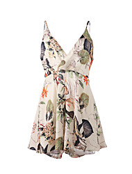 Women's Club Dress,Floral Mini Sleeveless Multi-color Others Summer