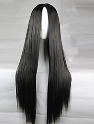 Europe And The United States The New Color Wig 80 CM High Temperature Silk Black Long Straight Hair Wigs