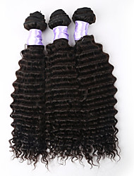 3Pcs/Lot Unprocessed Brazilian Virgin Hair Deep Wave Human Hair Extensions Natural Black Hair Weaves