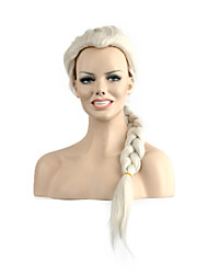 High Quality Long Wave White Color Woman's Party Synthetic Wigs