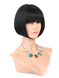 Silky Straight Mono Wig With Bangs Virgin Peruvian Short Straight Wig With Bangs Human Hair Bob Wig With Bangs
