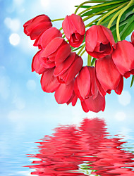 JAMMORY Mural Art Deco Wallpaper Contemporary Wall Covering,Canvas Yes Large Mural  A Lot of Red Tulips