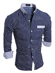Men's Casual/Daily Simple All Seasons Shirt,Plaid Classic Collar Long Sleeves Cotton