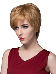 Simple Layered Straight Virgin Remy Hand Tied-Top Capless Human Hair Wigs