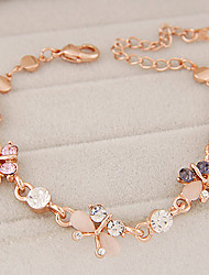 Women's European Style Fashion Boutique Sweet Butterfly Opal Chain & Link Bracelets