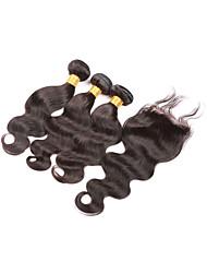 """cheveux vierges peruvian avec fermeture non transformé vierge vague de corps de cheveux avec fermeture 4 """"x4"""" fermeture à lacets avec des"""