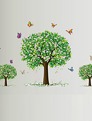 Leisure Romance Pink Flower Three Tree Butterfly Wall Stickers Living Room Bedroom Wall Art Environmental Wall Decals