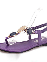 Women's Shoes Synthetic Flat Heel Flip Flops Sandals Office & Career / Casual Purple / Beige