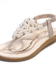 Women's Shoes PU Flat Heel Flip Flops / Comfort Sandals Outdoor / Athletic / Dress / Casual Silver / Gold