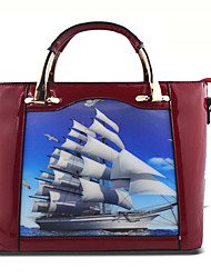 Women-Formal / Event/Party-Cowhide-Tote-Blue / Brown / Red / Black