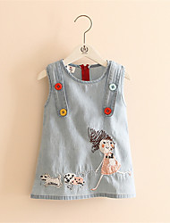 2016 High Hot Sell Fashion Dress Baby Girl Cute Denim Dresses Kids Sleeveless Casual Clothing Summer Style