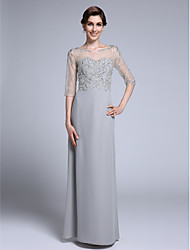 Lanting Bride Sheath / Column Mother of the Bride Dress Floor-length Half Sleeve Chiffon with Beading