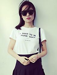 Damen Buchstabe Einfach Lässig/Alltäglich T-shirt,Rundhalsausschnitt Sommer Kurzarm Rosa / Weiß / Schwarz / Grau Baumwolle / Leinen Dünn